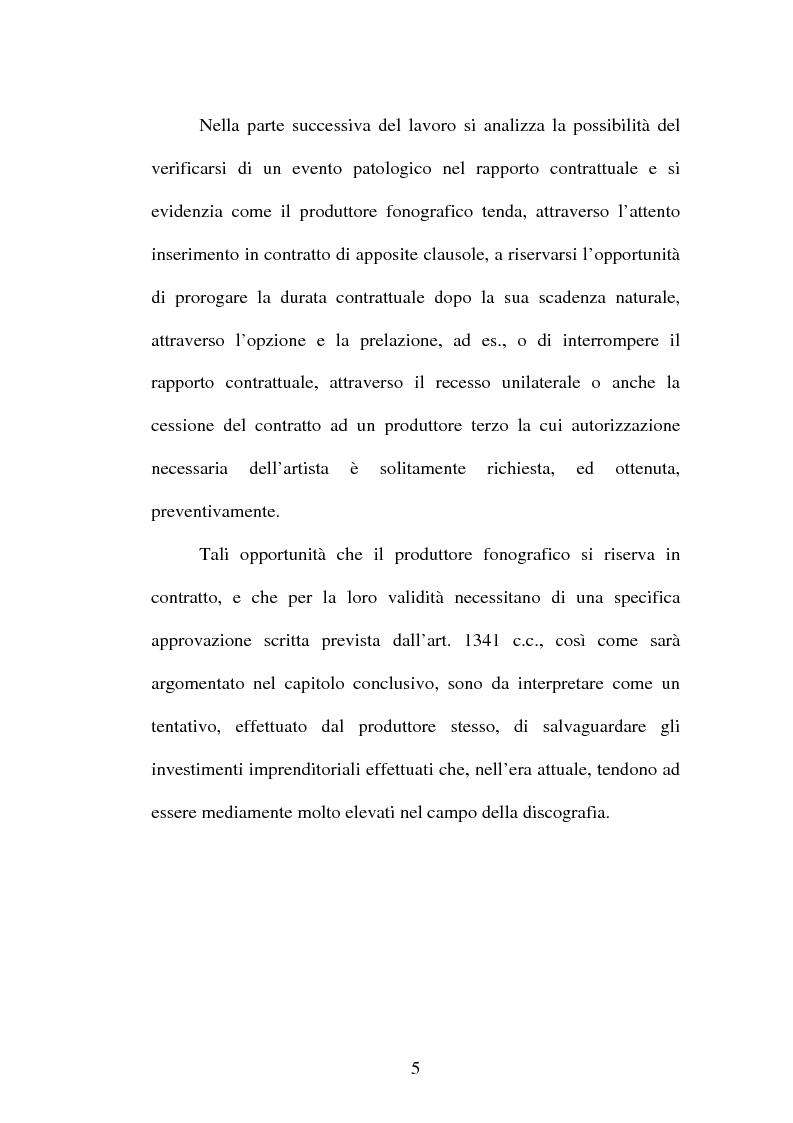 Anteprima della tesi: Il contratto discografico. Profili privatistici, Pagina 5