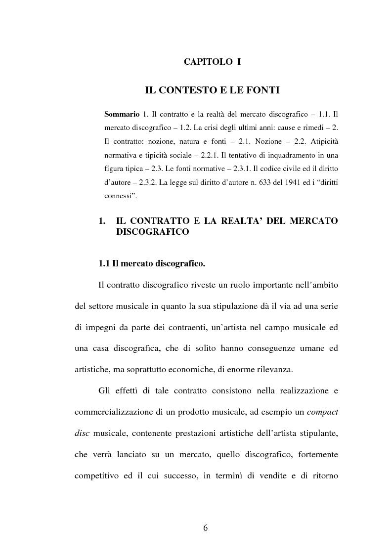 Anteprima della tesi: Il contratto discografico. Profili privatistici, Pagina 6