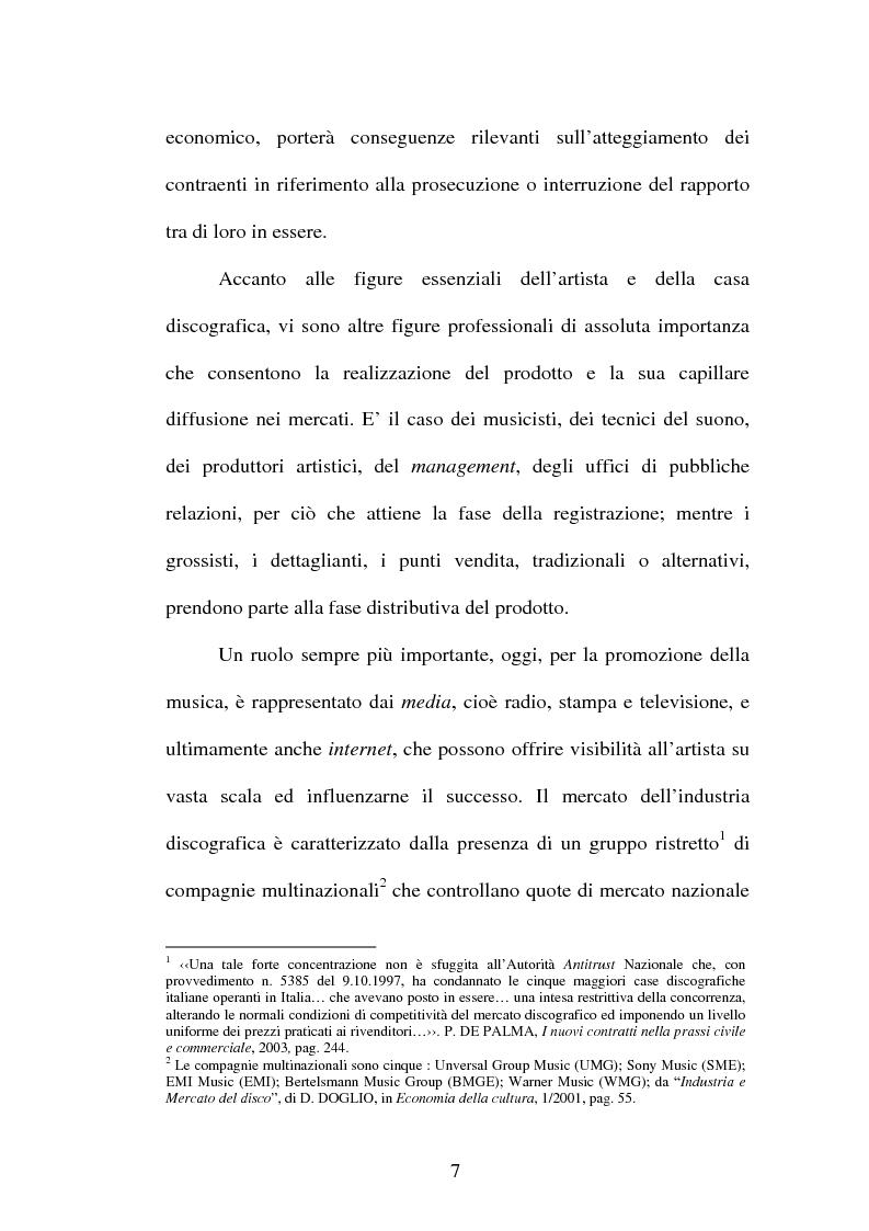 Anteprima della tesi: Il contratto discografico. Profili privatistici, Pagina 7