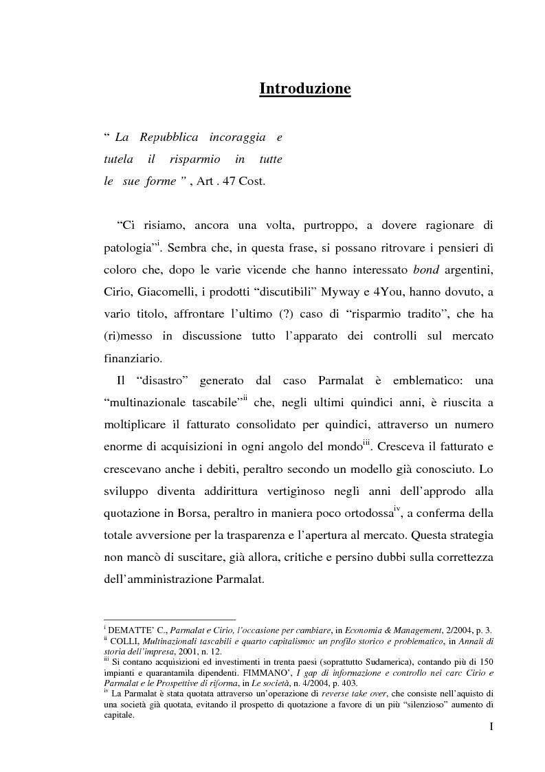 """Anteprima della tesi: Un recente """"disastro"""" finanziario: il caso Parmalat, Pagina 1"""