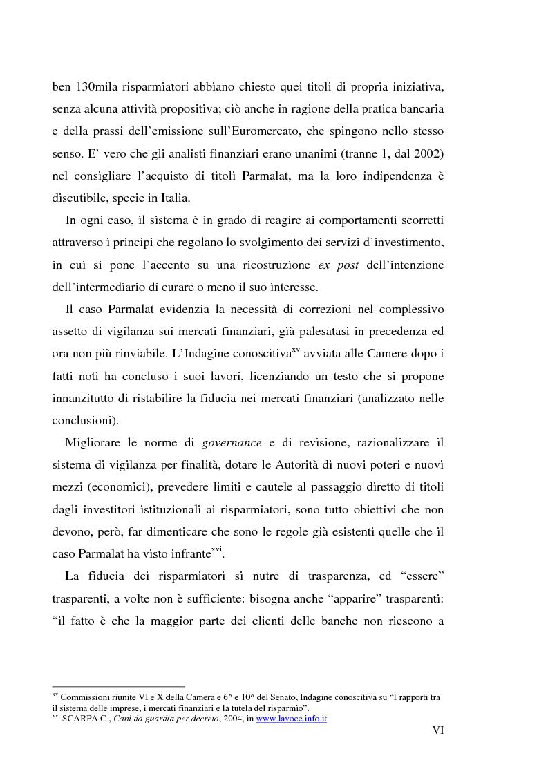 """Anteprima della tesi: Un recente """"disastro"""" finanziario: il caso Parmalat, Pagina 6"""