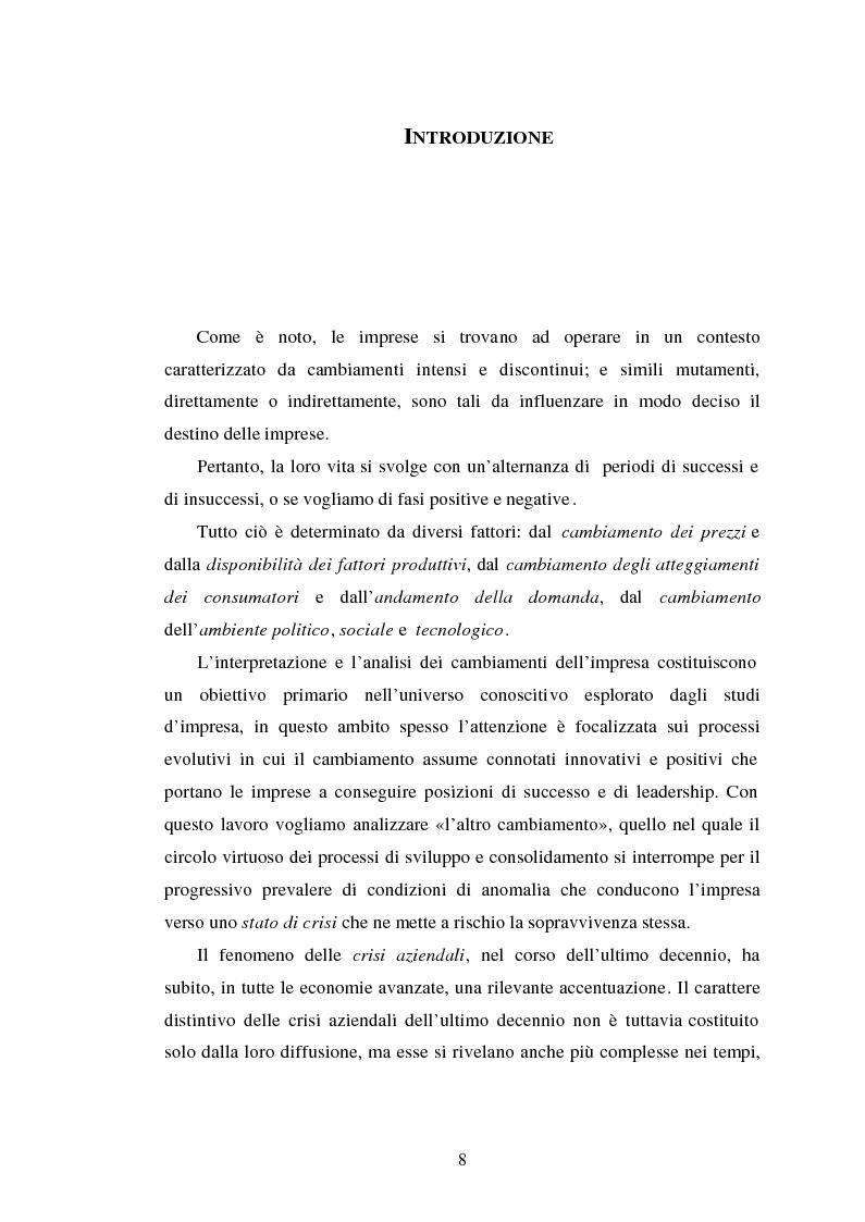 Anteprima della tesi: Crisi d'impresa. Processi degenerativi, strumenti di diagnosi e misure di prevenzione., Pagina 1
