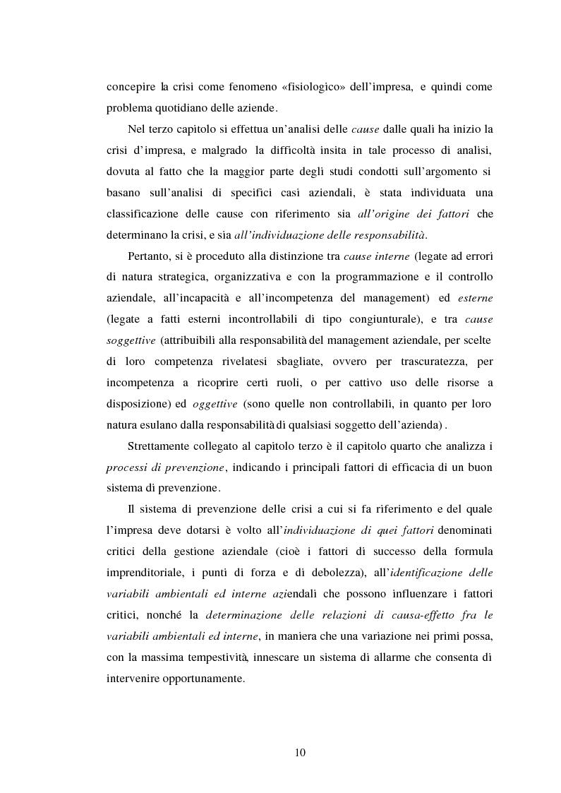 Anteprima della tesi: Crisi d'impresa. Processi degenerativi, strumenti di diagnosi e misure di prevenzione., Pagina 3