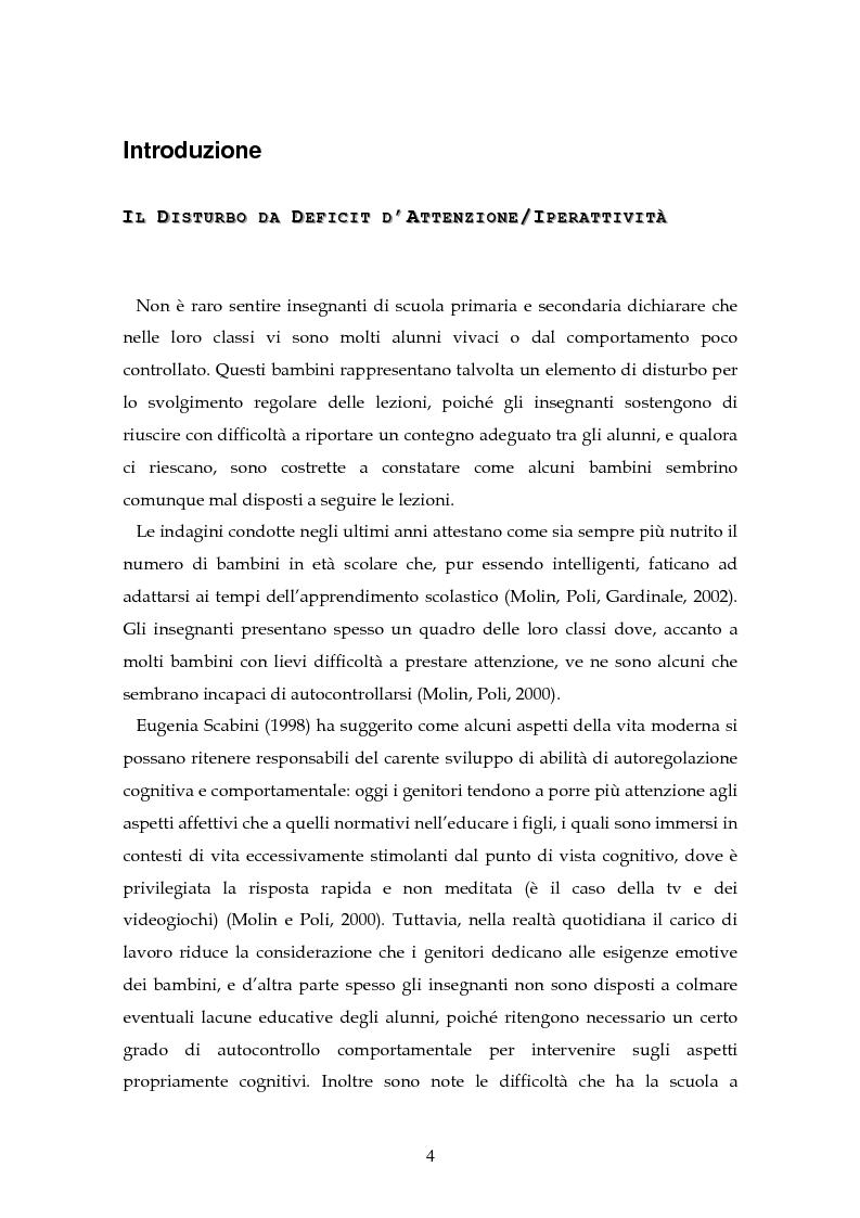 Anteprima della tesi: Il disturbo da deficit d'attenzione/iperattività: analisi della letteratura, Pagina 1