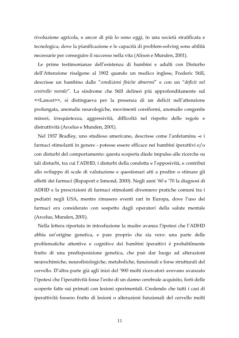 Anteprima della tesi: Il disturbo da deficit d'attenzione/iperattività: analisi della letteratura, Pagina 8