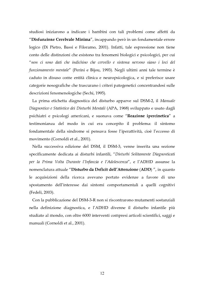 Anteprima della tesi: Il disturbo da deficit d'attenzione/iperattività: analisi della letteratura, Pagina 9