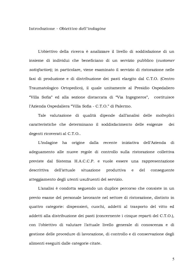Anteprima della tesi: Customer Satisfaction nella ristorazione ospedaliera. Un'analisi al C.T.O. di Palermo, Pagina 1