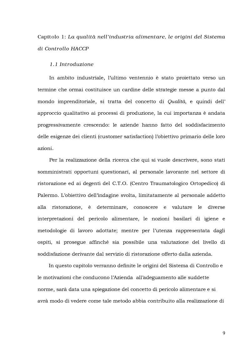 Anteprima della tesi: Customer Satisfaction nella ristorazione ospedaliera. Un'analisi al C.T.O. di Palermo, Pagina 5