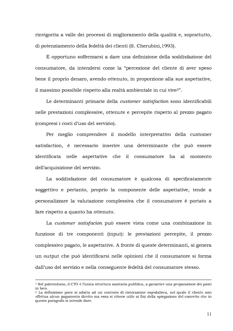 Anteprima della tesi: Customer Satisfaction nella ristorazione ospedaliera. Un'analisi al C.T.O. di Palermo, Pagina 7