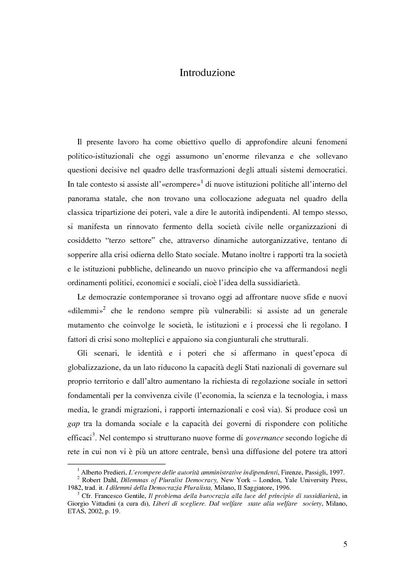 Anteprima della tesi: Autorità indipendenti, terzo settore e sussidiarietà nelle trasformazioni attuali dei sistemi democratici, Pagina 1