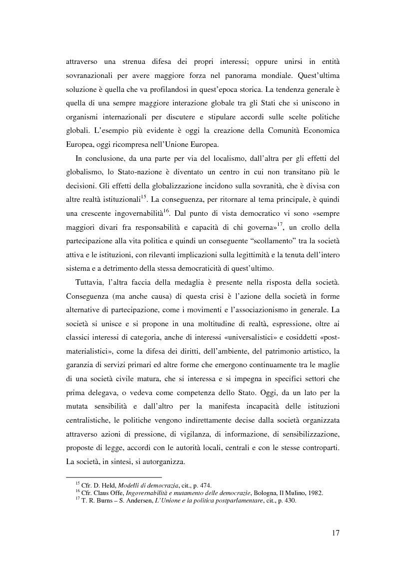Anteprima della tesi: Autorità indipendenti, terzo settore e sussidiarietà nelle trasformazioni attuali dei sistemi democratici, Pagina 13