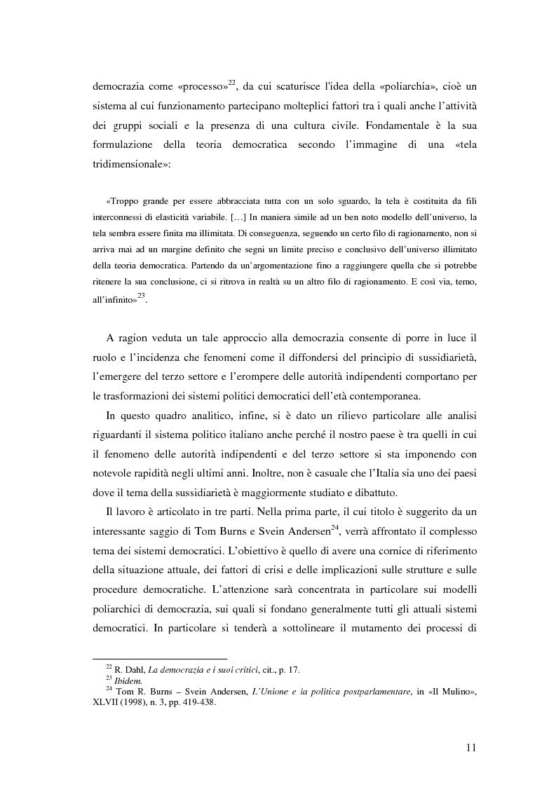 Anteprima della tesi: Autorità indipendenti, terzo settore e sussidiarietà nelle trasformazioni attuali dei sistemi democratici, Pagina 7