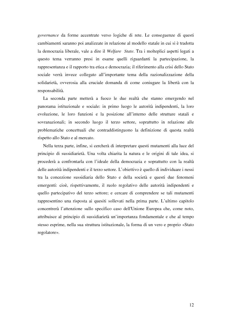 Anteprima della tesi: Autorità indipendenti, terzo settore e sussidiarietà nelle trasformazioni attuali dei sistemi democratici, Pagina 8