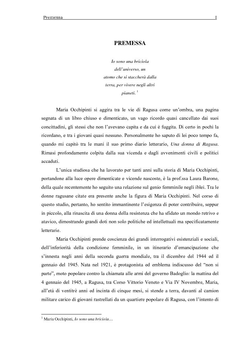 Anteprima della tesi: Maria Occhipinti: una ribelle del Novecento, Pagina 1
