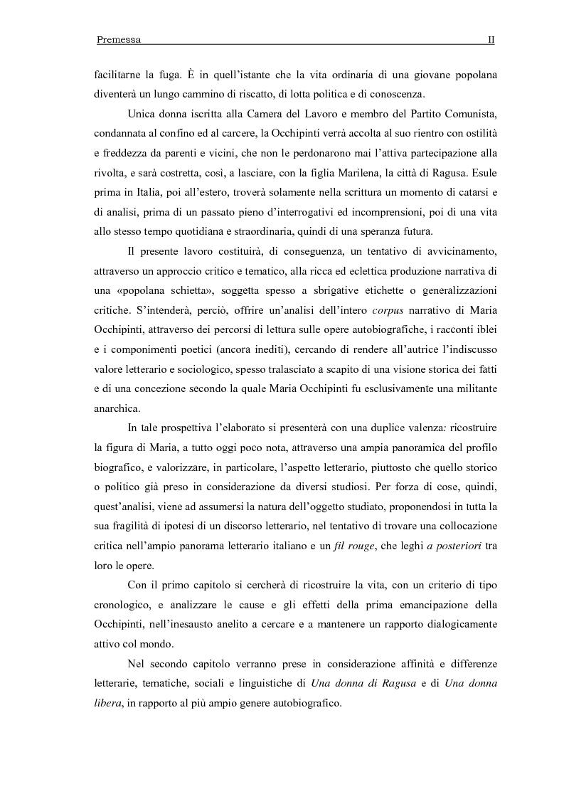 Anteprima della tesi: Maria Occhipinti: una ribelle del Novecento, Pagina 2