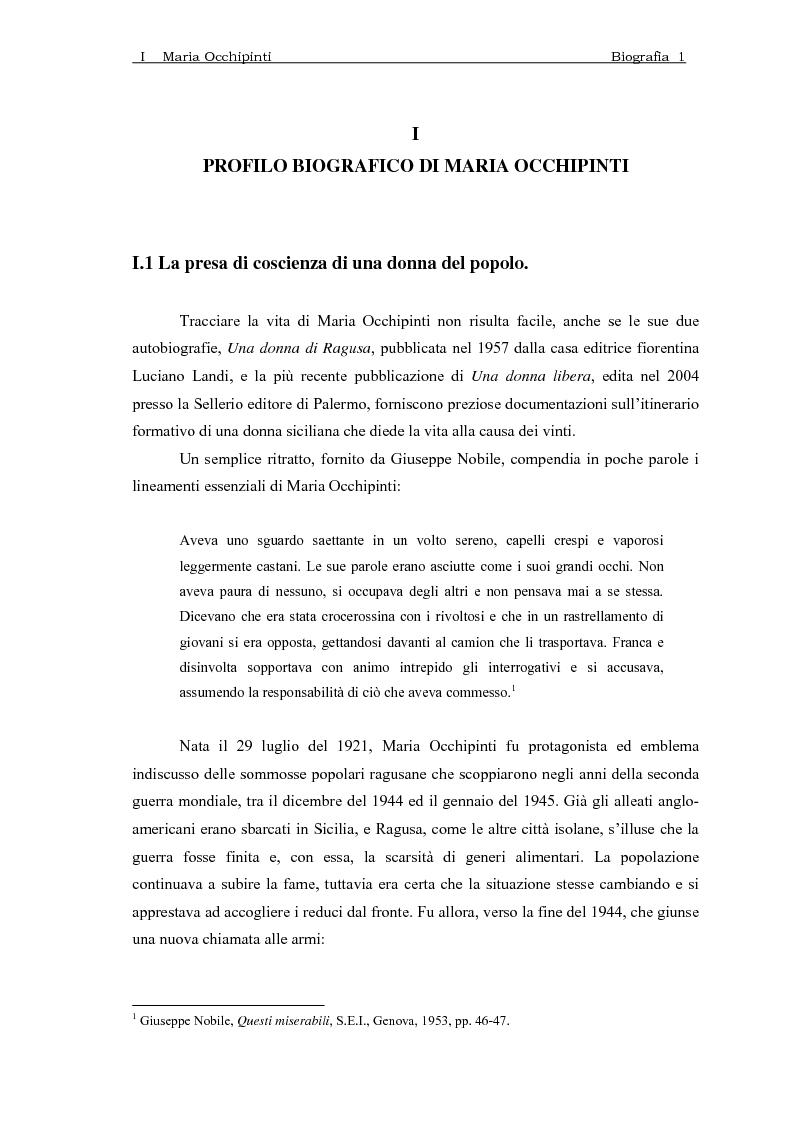 Anteprima della tesi: Maria Occhipinti: una ribelle del Novecento, Pagina 4