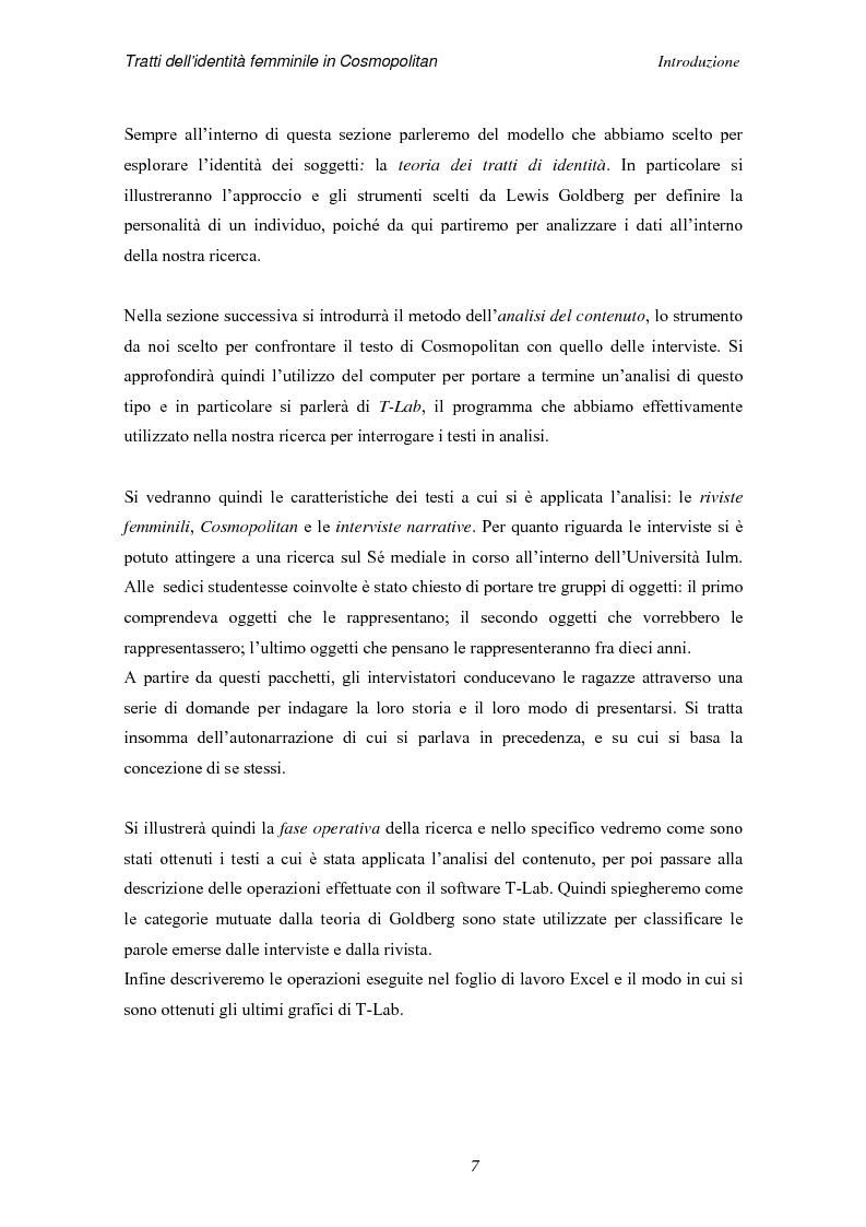 Anteprima della tesi: Tratti dell'identità femminile nella rivista Cosmopolitan, Pagina 5