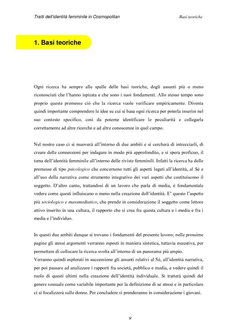 Anteprima della tesi: Tratti dell'identità femminile nella rivista Cosmopolitan, Pagina 7