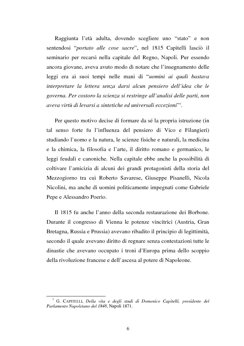 Anteprima della tesi: Domenico Capitelli: vita e studi di un liberale nel Mezzogiorno preunitario, Pagina 6