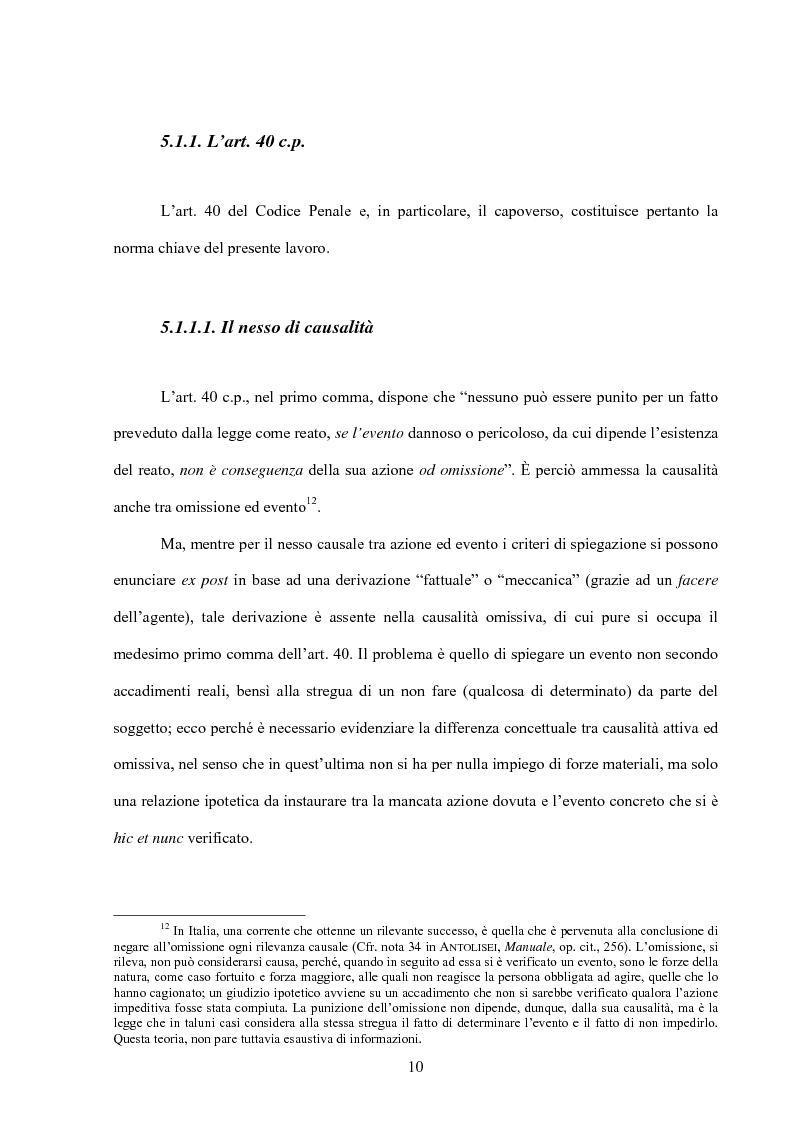 Anteprima della tesi: La posizione di garanzia nel reato omissivo improprio, Pagina 13