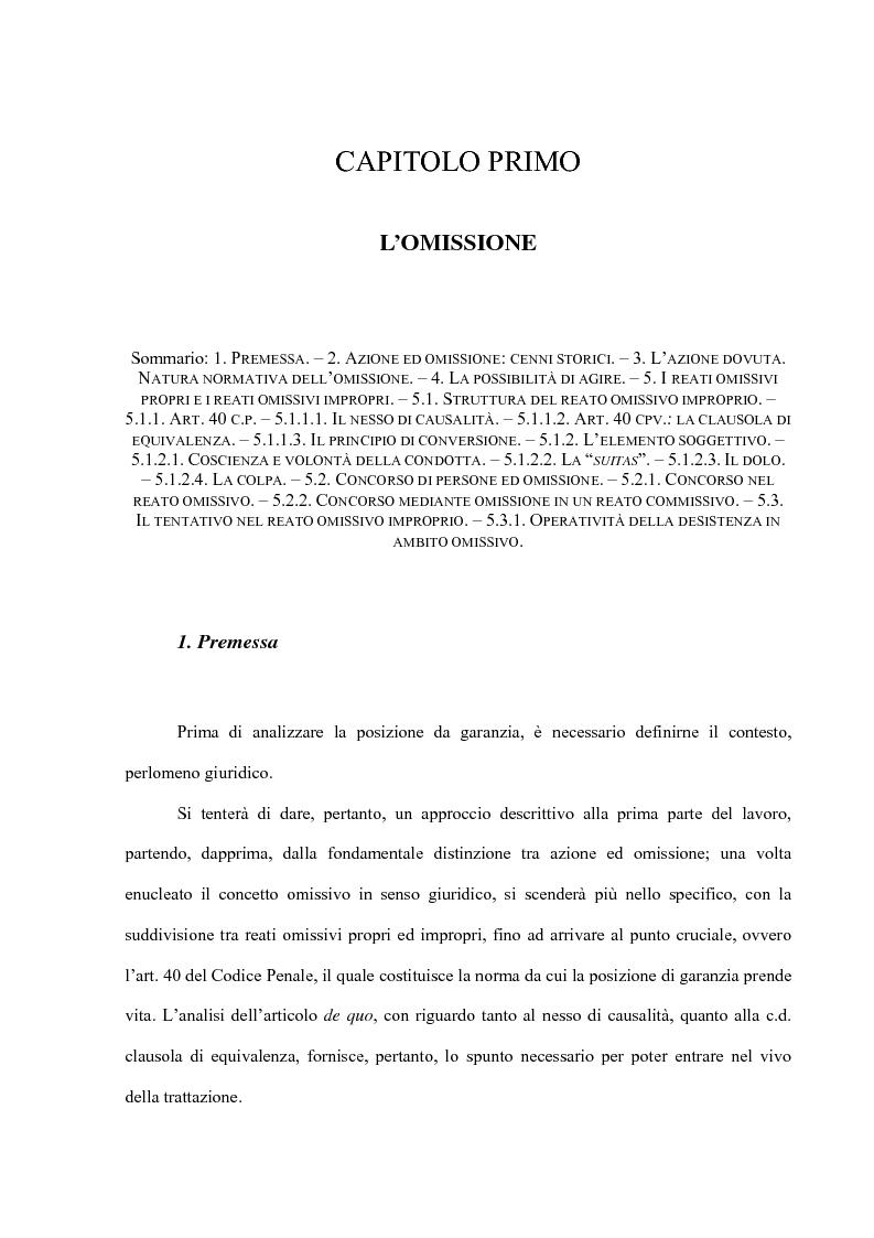 Anteprima della tesi: La posizione di garanzia nel reato omissivo improprio, Pagina 4