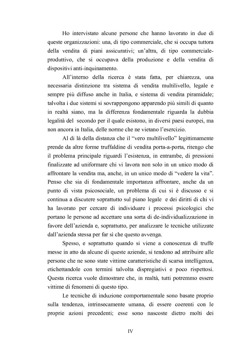 Anteprima della tesi: Indagine esplorativa sull'induzione comportamentale nel sistema di vendita multilivello, Pagina 4
