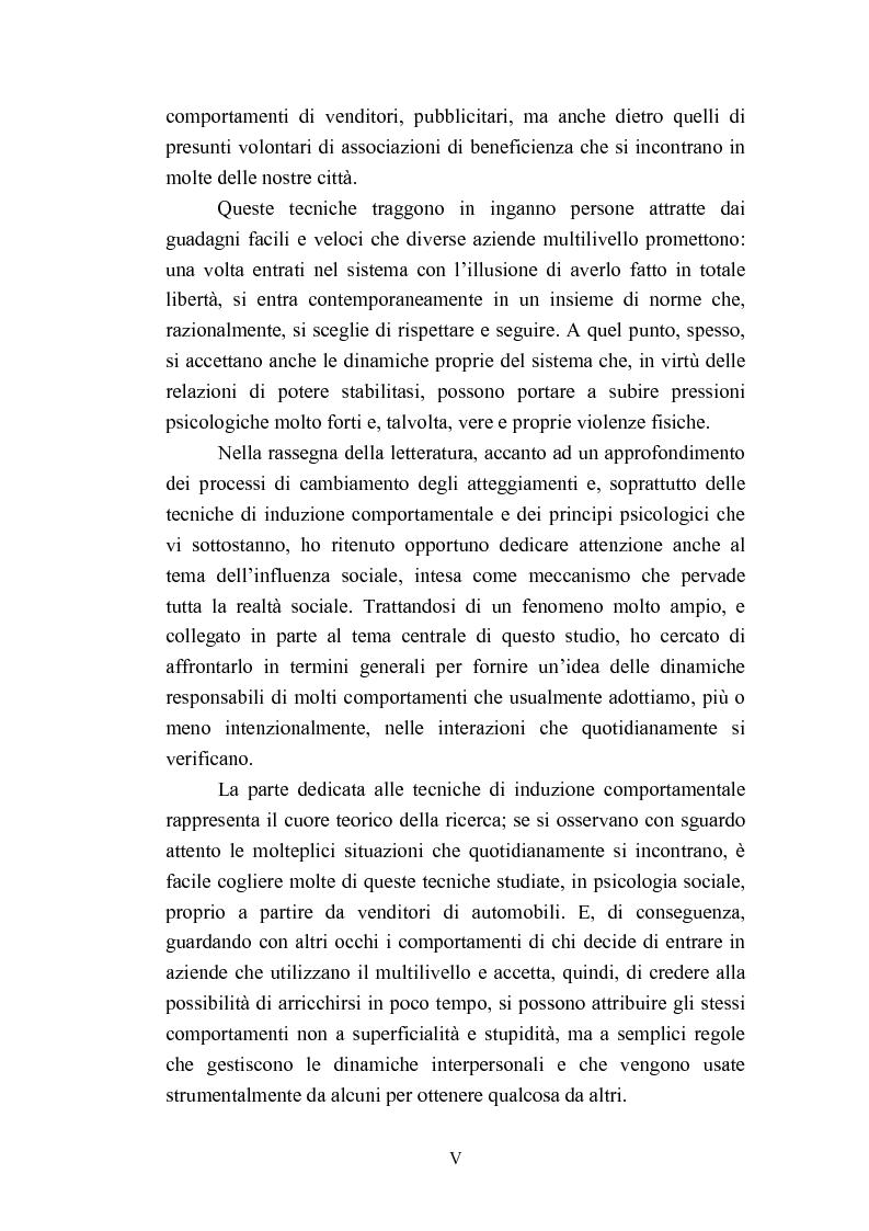 Anteprima della tesi: Indagine esplorativa sull'induzione comportamentale nel sistema di vendita multilivello, Pagina 5