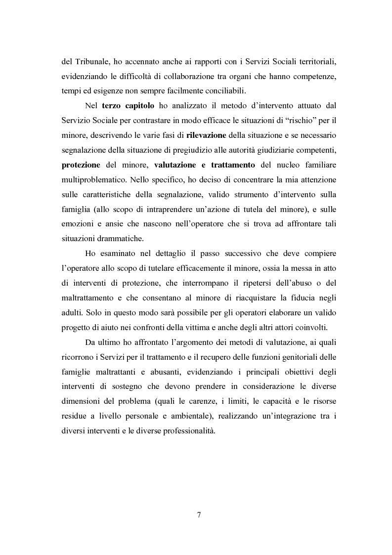 Anteprima della tesi: L' équipe multidisciplinare come strumento per la segnalazione e la presa in carico dei casi di abuso e maltrattamento sui minori, Pagina 5