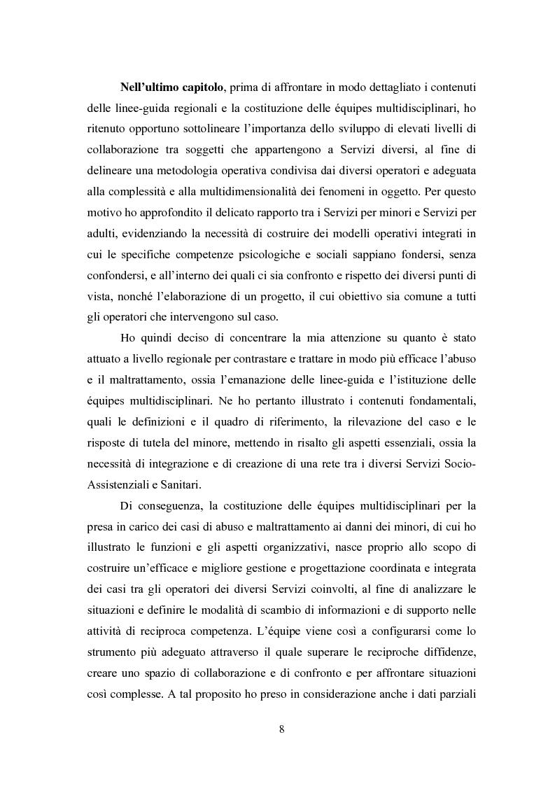 Anteprima della tesi: L' équipe multidisciplinare come strumento per la segnalazione e la presa in carico dei casi di abuso e maltrattamento sui minori, Pagina 6