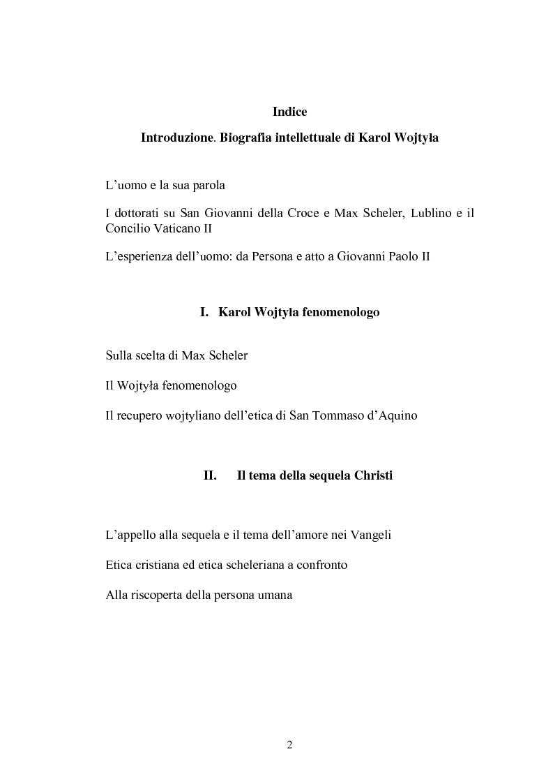 Indice della tesi: Karol Wojtyla e la fenomenologia: tra filosofia e teologia, Pagina 1