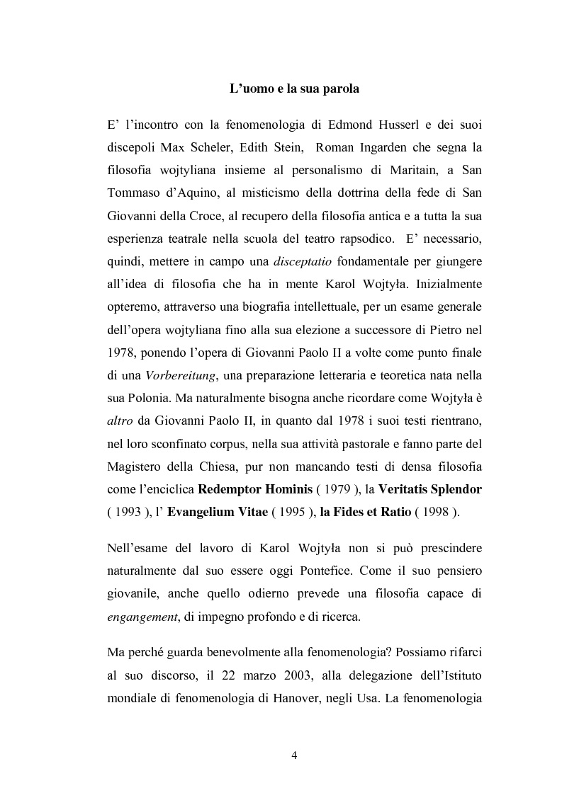 Anteprima della tesi: Karol Wojtyla e la fenomenologia: tra filosofia e teologia, Pagina 1