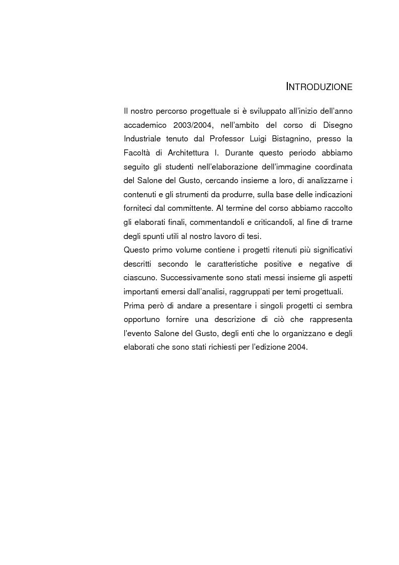 Anteprima della tesi: Analisi e sviluppo del progetto di immagine coordinata relativo al ''Salone del Gusto'', Torino 2004, Pagina 1