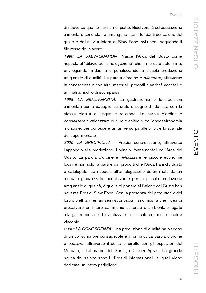 Anteprima della tesi: Analisi e sviluppo del progetto di immagine coordinata relativo al ''Salone del Gusto'', Torino 2004, Pagina 12
