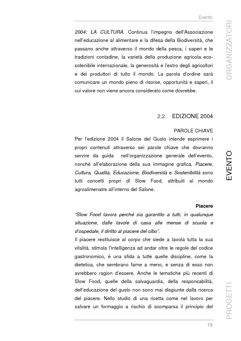 Anteprima della tesi: Analisi e sviluppo del progetto di immagine coordinata relativo al ''Salone del Gusto'', Torino 2004, Pagina 13