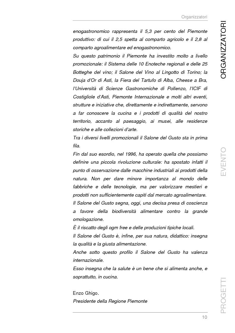 Anteprima della tesi: Analisi e sviluppo del progetto di immagine coordinata relativo al ''Salone del Gusto'', Torino 2004, Pagina 8