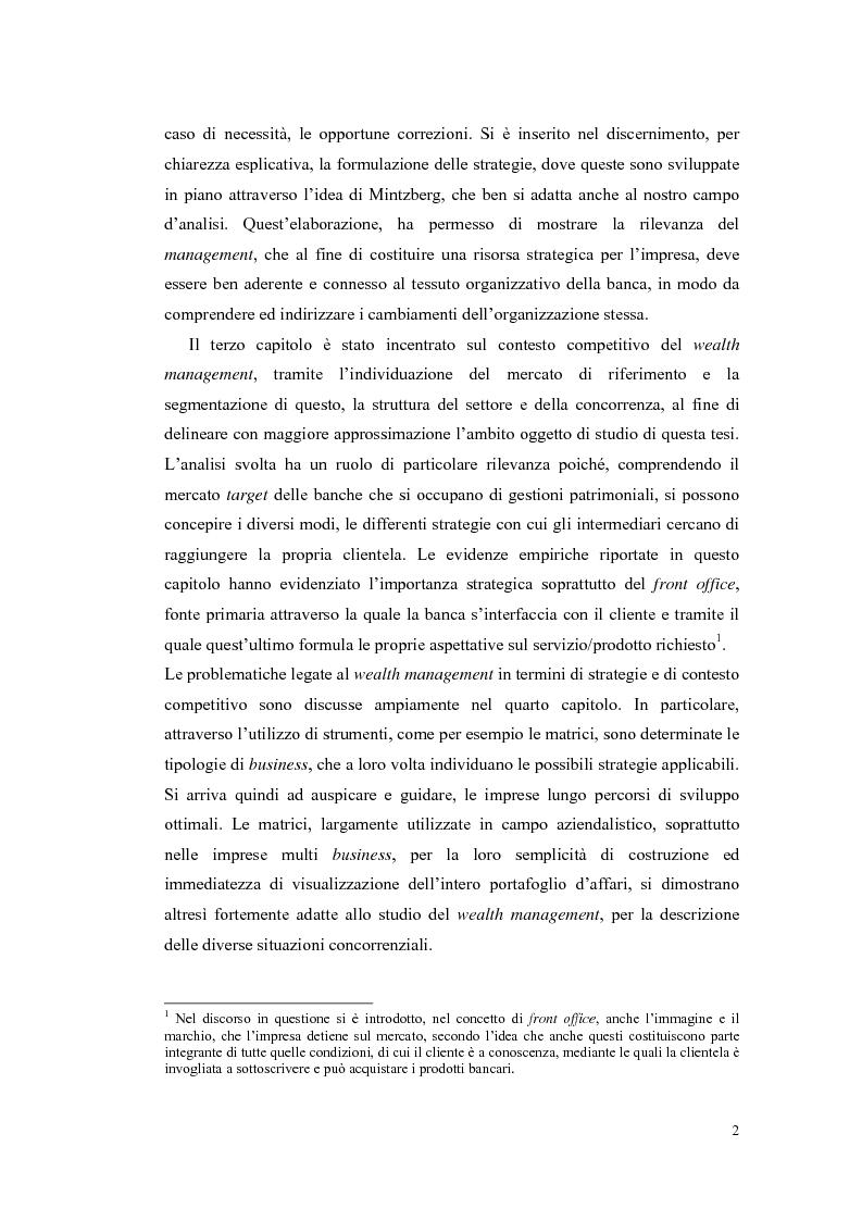Anteprima della tesi: Le strategie competitive delle banche nel wealth management, Pagina 2
