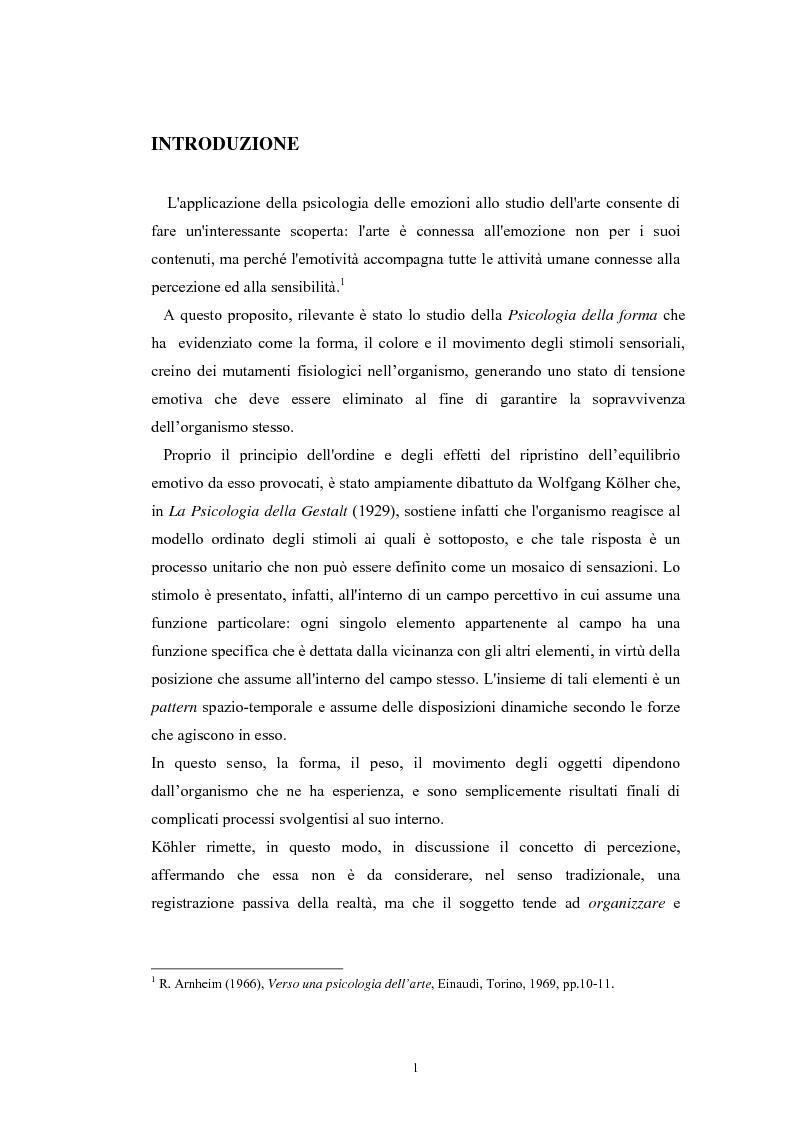 Anteprima della tesi: La regolazione delle emozioni: tra empatia ed arte, Pagina 1