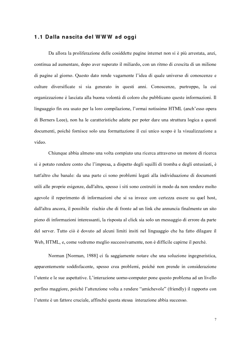 Anteprima della tesi: Semantic Web strutturazione dell'informazione e rappresentazione della conoscenza, Pagina 6