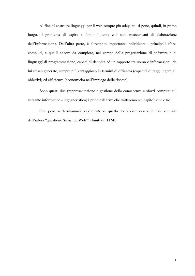 Anteprima della tesi: Semantic Web strutturazione dell'informazione e rappresentazione della conoscenza, Pagina 7