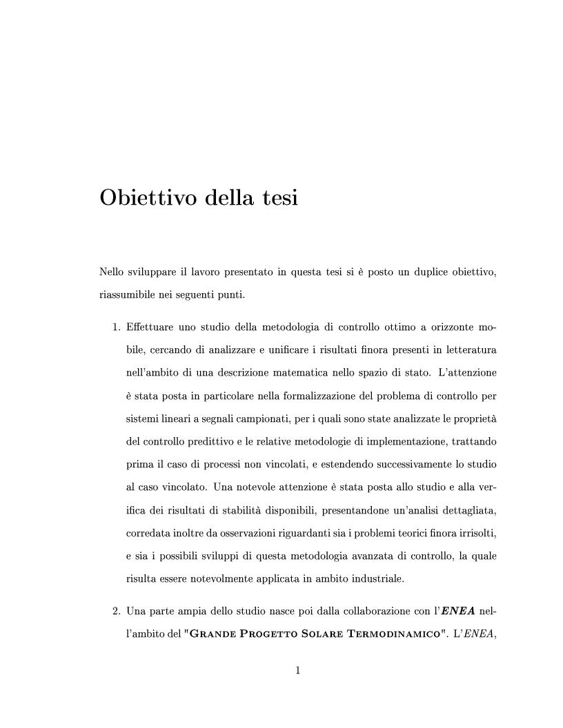 Anteprima della tesi: Controllo predittivo di sistemi lineari - Controllo ad alta prestazione e con vincoli di un impianto solare, Pagina 1