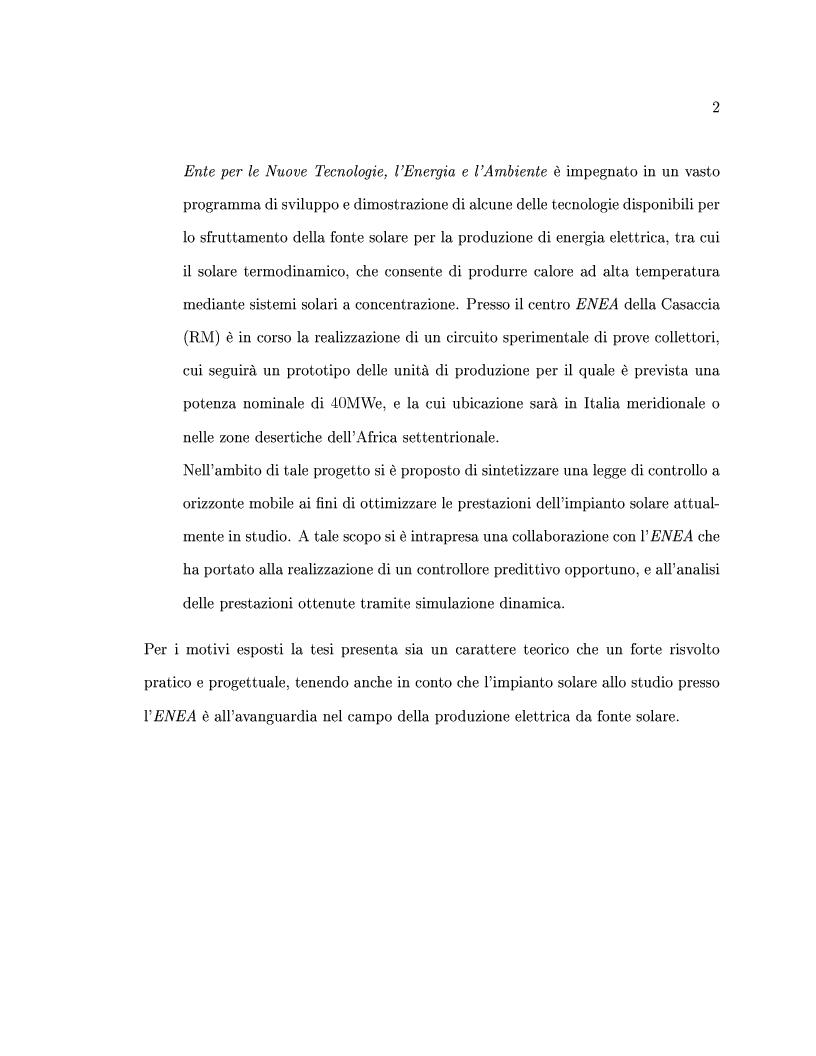 Anteprima della tesi: Controllo predittivo di sistemi lineari - Controllo ad alta prestazione e con vincoli di un impianto solare, Pagina 2