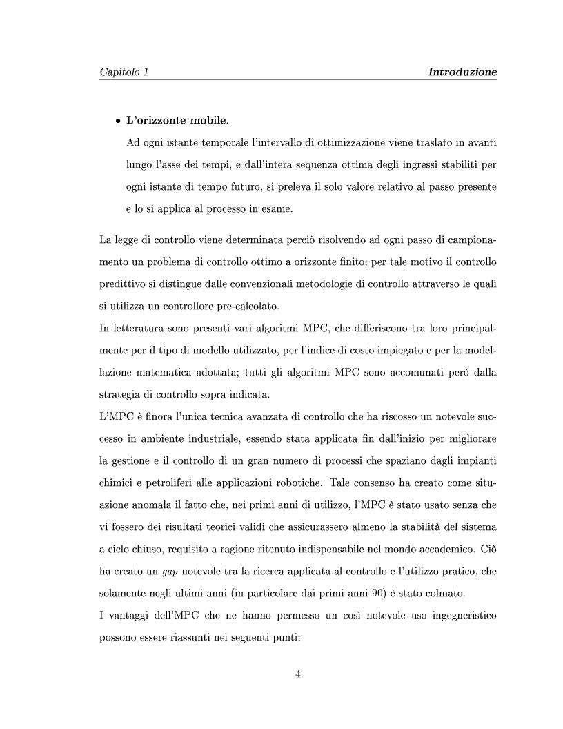 Anteprima della tesi: Controllo predittivo di sistemi lineari - Controllo ad alta prestazione e con vincoli di un impianto solare, Pagina 4