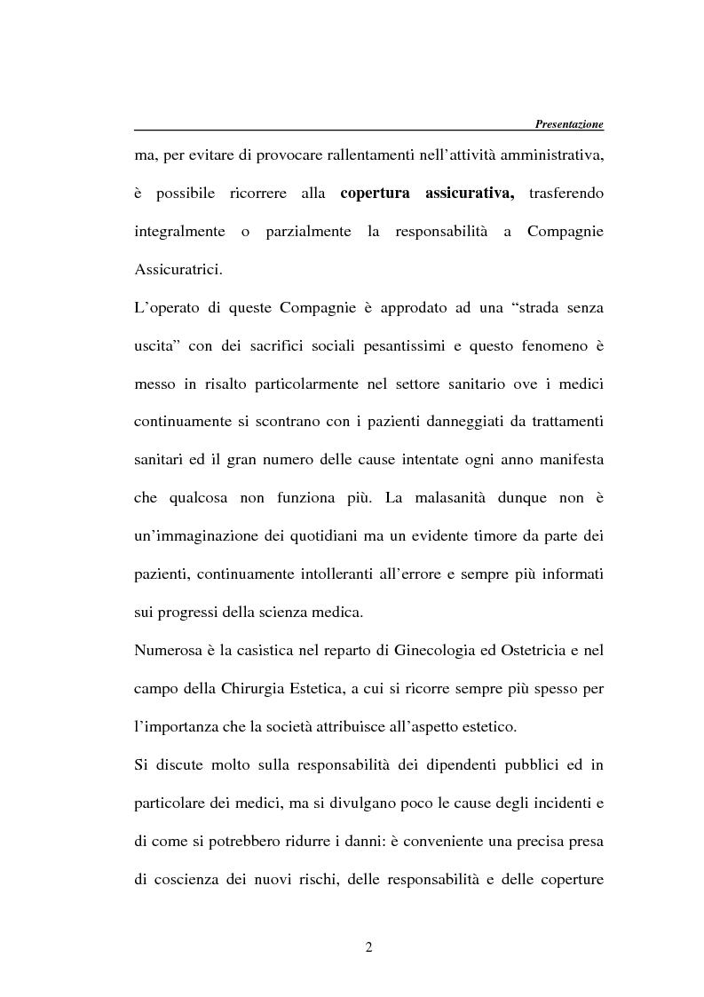 Anteprima della tesi: La responsabilità della Pubblica Amministrazione, dei dipendenti pubblici e la copertura assicurativa nella Sanità, Pagina 2