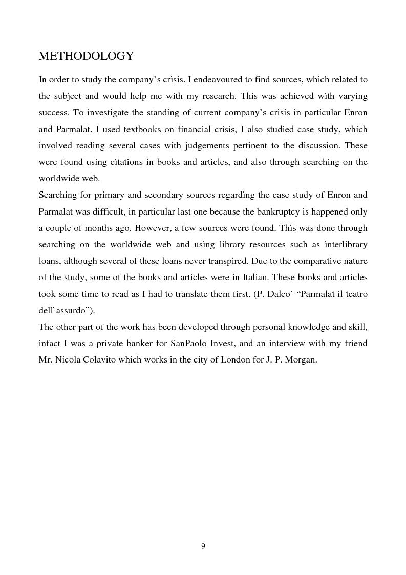 Anteprima della tesi: Enron and Parmalat two twins parables, Pagina 6