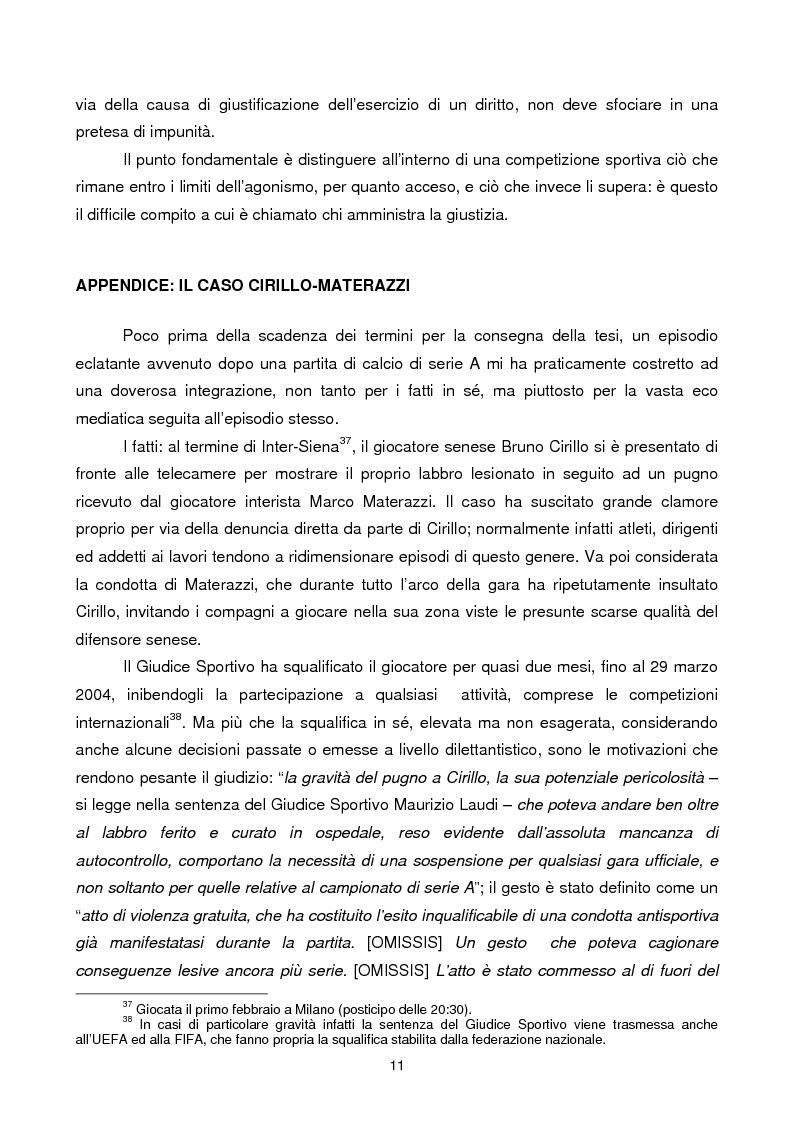Anteprima della tesi: Violenza sportiva e diritto penale, Pagina 11