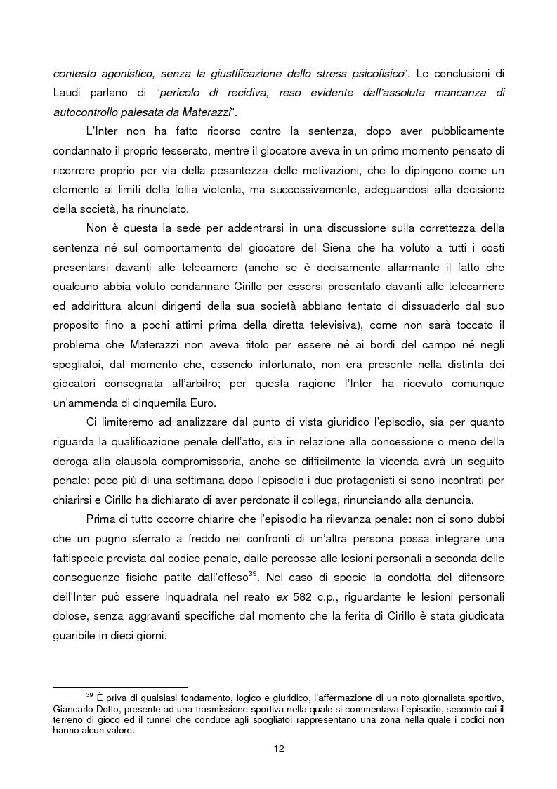 Anteprima della tesi: Violenza sportiva e diritto penale, Pagina 12