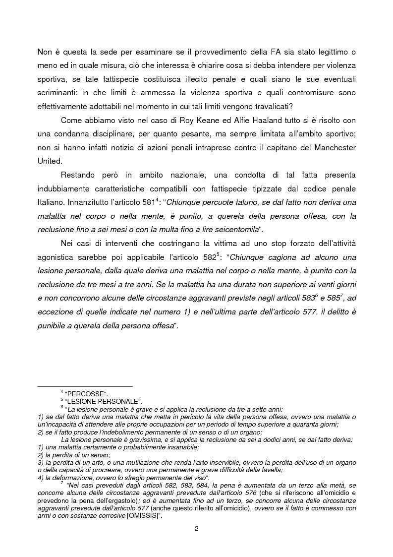 Anteprima della tesi: Violenza sportiva e diritto penale, Pagina 2