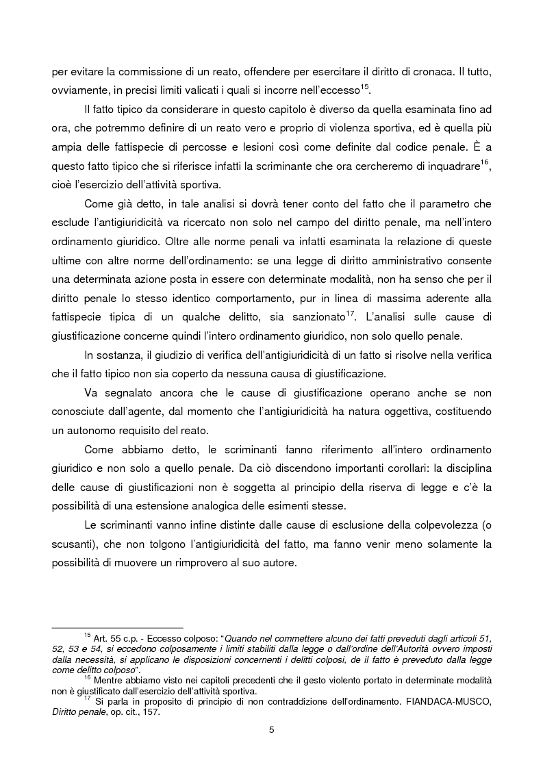 Anteprima della tesi: Violenza sportiva e diritto penale, Pagina 5