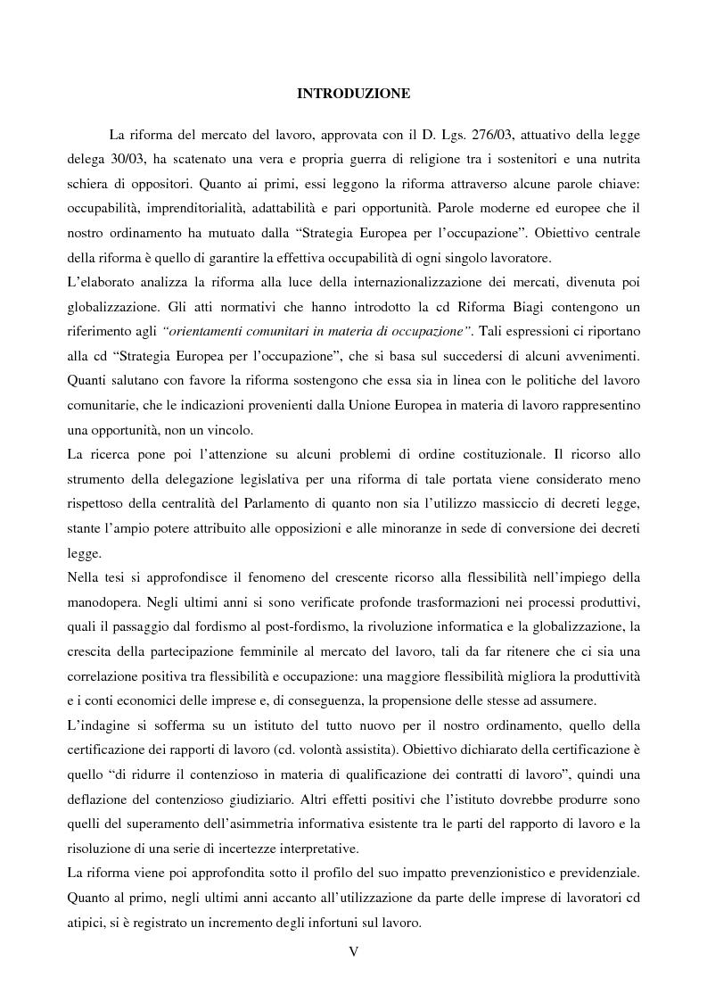 Anteprima della tesi: Mercato del lavoro e tutela del prestatore, Pagina 1