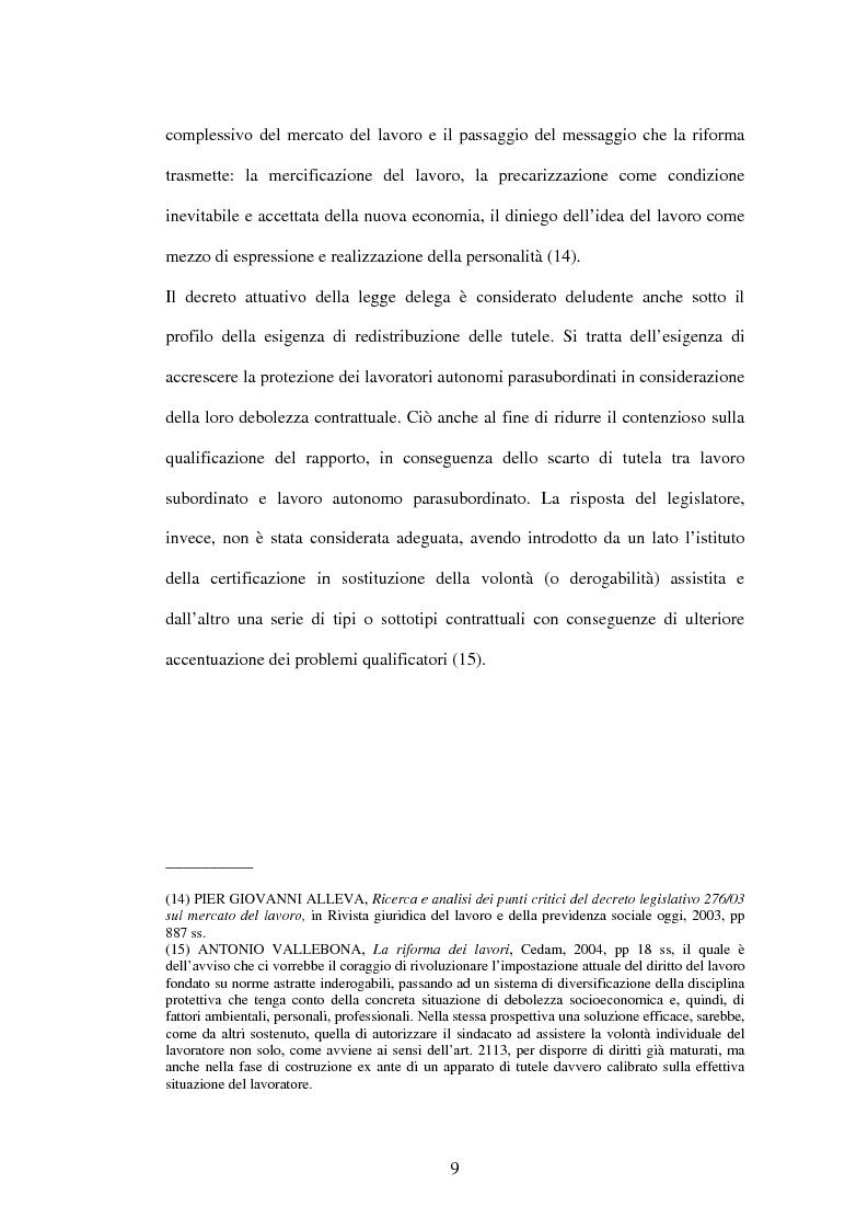 Anteprima della tesi: Mercato del lavoro e tutela del prestatore, Pagina 11